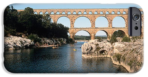 Languedoc iPhone Cases - Aqueduct Across A River, Pont Du Gard iPhone Case by Panoramic Images