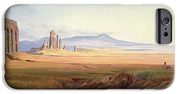 Ruin iPhone Cases - Aqueduct Of Nero, Rome iPhone Case by Edward Lear