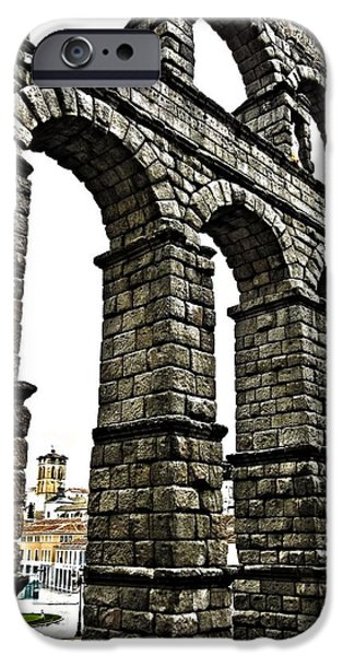 Spanien iPhone Cases - Aqueduct of Segovia - Spain iPhone Case by Juergen Weiss