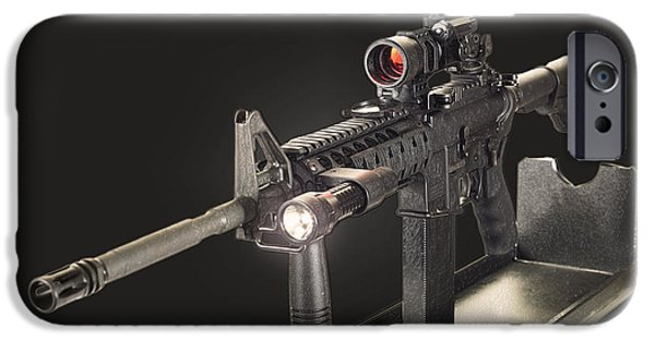 Weapon Pyrography iPhone Cases - AR 15 on Black iPhone Case by Daniel Behm