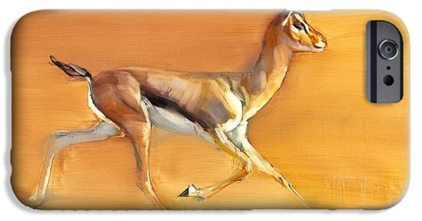 On Paper Paintings iPhone Cases - Arabian Gazelle iPhone Case by Mark Adlington