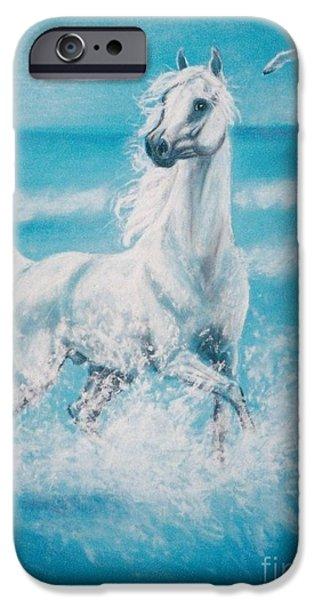 Seagull Pastels iPhone Cases - Arabian horse and seagull iPhone Case by Dorota Zdunska