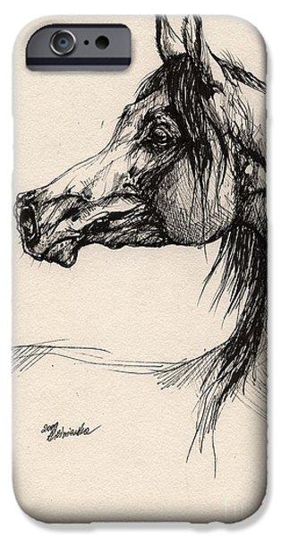 arabian horse drawing 26 iPhone Case by Angel  Tarantella