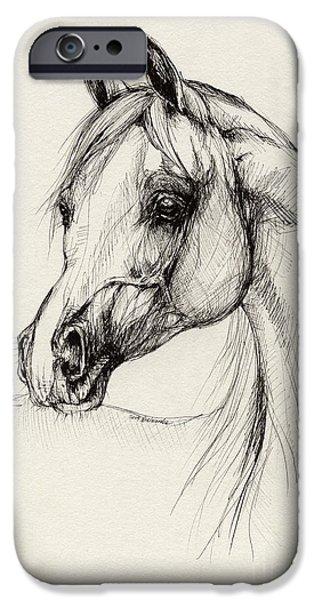 arabian horse drawing 27 iPhone Case by Angel  Tarantella