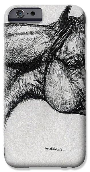 arabian horse drawing 40 iPhone Case by Angel  Tarantella