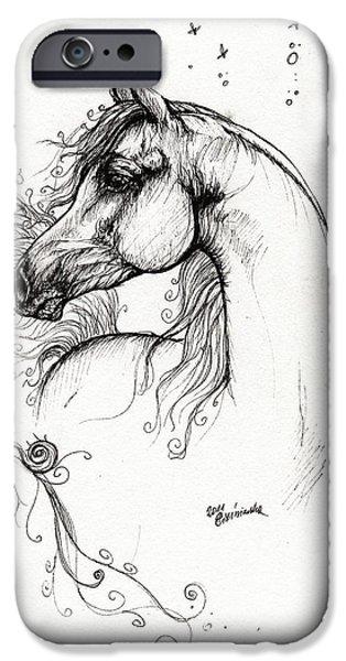 arabian horse drawing 8 iPhone Case by Angel  Tarantella