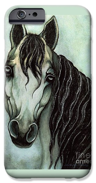 Monotone Paintings iPhone Cases - Arabian horse  iPhone Case by Janine Riley