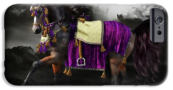 Horse Digital Art iPhone Cases - Arabian Horse  Shaitan iPhone Case by Shanina Conway