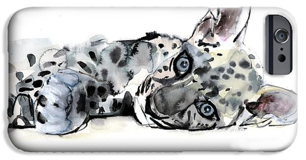 On Paper Paintings iPhone Cases - Arabian Leopard Cub iPhone Case by Mark Adlington