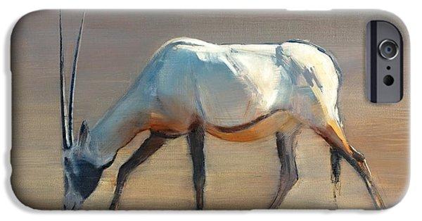 Arabian iPhone Cases - Arabian Oryx iPhone Case by Mark Adlington