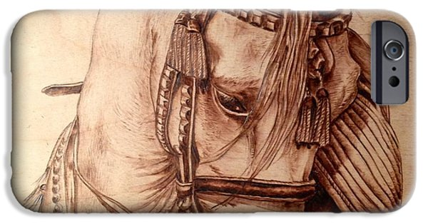 Arabian Pyrography iPhone Cases - Arabian Stallion iPhone Case by Adin Begic
