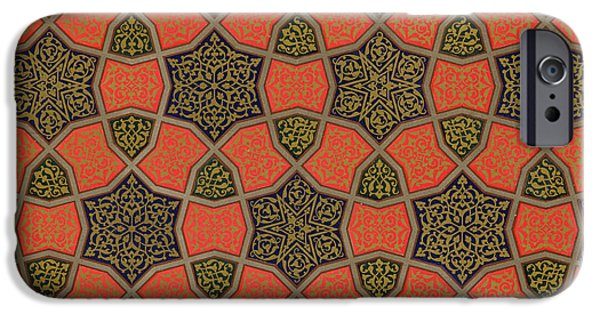 Shape Drawings iPhone Cases - Arabic decorative design iPhone Case by Emile Prisse dAvennes