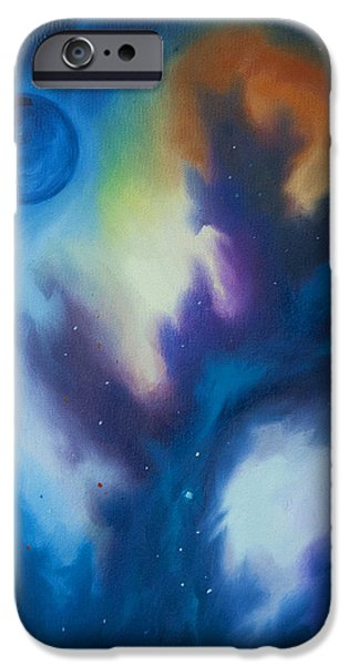 Hydrogen Paintings iPhone Cases - Aramon Nebula  iPhone Case by James Christopher Hill