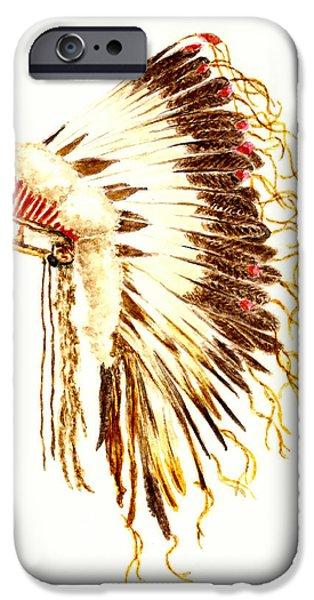 Arapaho iPhone Cases - Arapaho War Bonnet iPhone Case by Michael Vigliotti