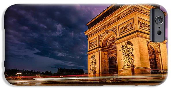 De iPhone Cases - Arc de Triomphe At Dusk in Paris iPhone Case by James Udall