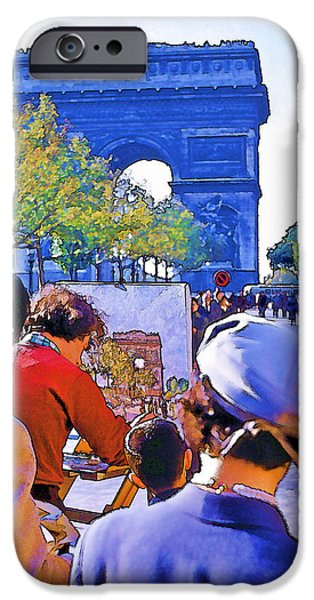 Best Sellers -  - Painter Photo Photographs iPhone Cases - Arc de Triomphe Painter iPhone Case by Chuck Staley