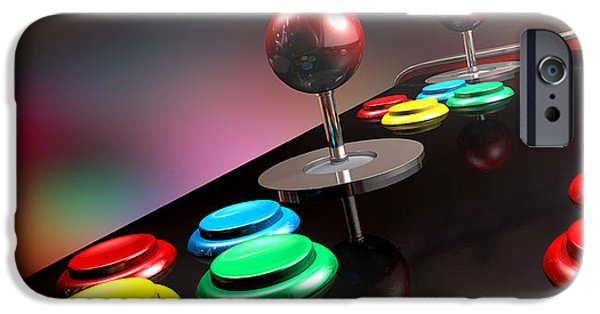 Eighties iPhone Cases - Arcade Control Panel With Joystick And Buttons iPhone Case by Allan Swart