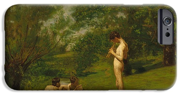 Youthful iPhone Cases - Arcadia circa 1883 iPhone Case by Thomas Cowperthwait Eakins