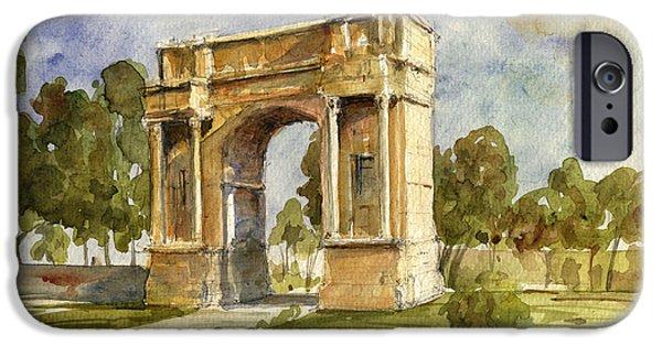 Ruin iPhone Cases - Arch triumphal of Antonius Pius at Tunisia iPhone Case by Juan  Bosco