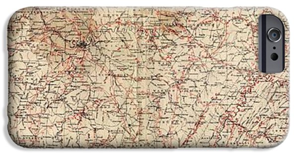 Mounds Drawings iPhone Cases - Archaeological Map of the State of Tennessee iPhone Case by Cody Cookston