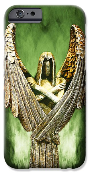 Archangel Azrael iPhone Case by Bill Tiepelman