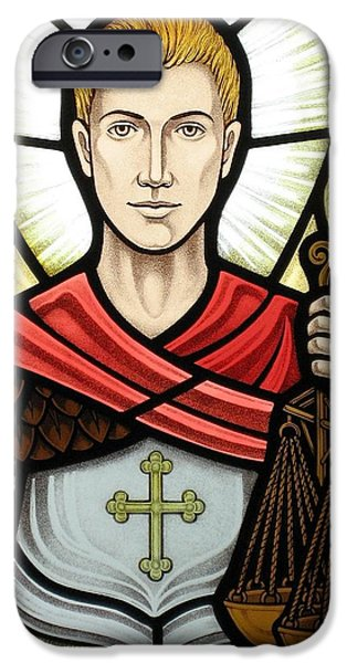 Sacred Glass iPhone Cases - Archangel Michael detail iPhone Case by Gilroy Stained Glass
