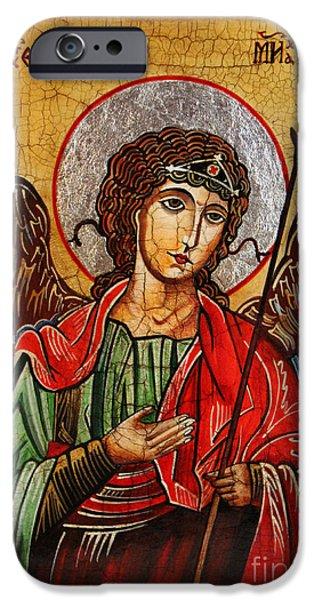 Book Of Daniel iPhone Cases - Archangel Michael Icon iPhone Case by Ryszard Sleczka