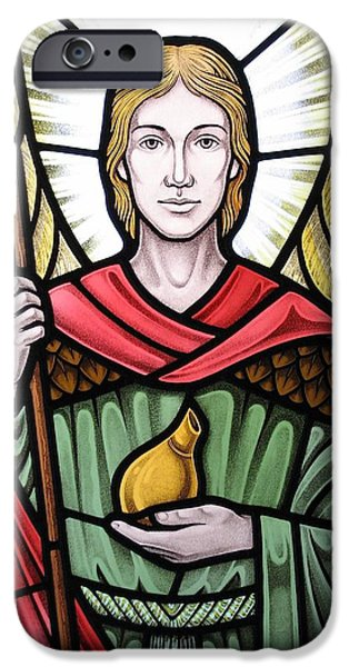 Sacred Glass Art iPhone Cases - Archangel Raphael detail iPhone Case by Gilroy Stained Glass