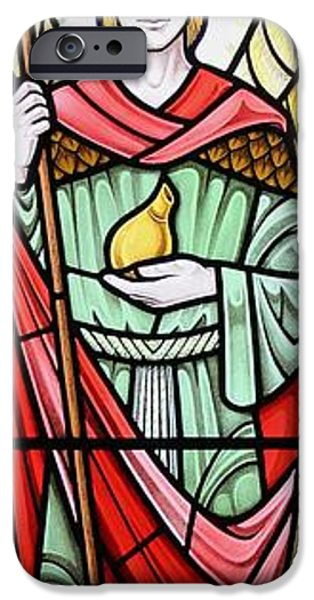 Sacred Glass iPhone Cases - Archangel Raphael iPhone Case by Gilroy Stained Glass