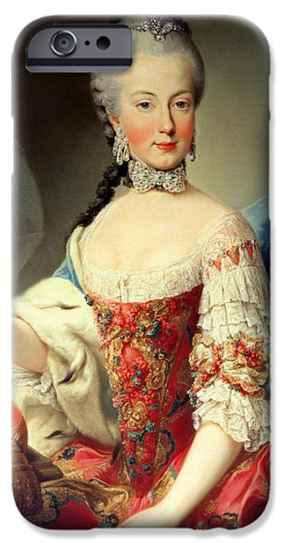 Choker iPhone Cases - Archduchess Maria Amalia Habsburg-lothringen, 1746-1804, Eighth Child Of Empress Maria Theresa iPhone Case by Martin II Mytens or Meytens