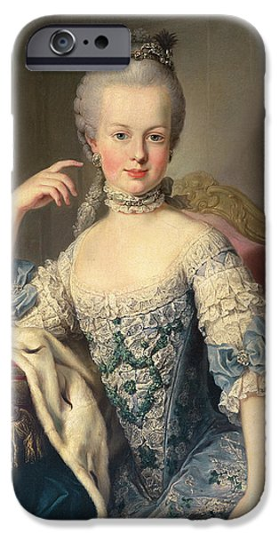 Royalty iPhone Cases - Archduchess Marie Antoinette Habsburg-Lotharingen iPhone Case by Martin II Mytens