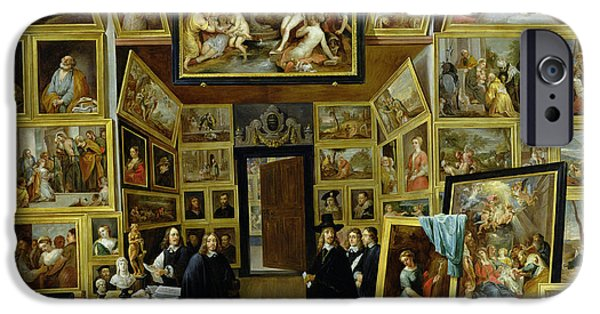 Self Portrait Photographs iPhone Cases - Archduke Leopold Wilhelm 1614-61 In His Picture Gallery, C.1647 Oil On Copper iPhone Case by David the Younger Teniers