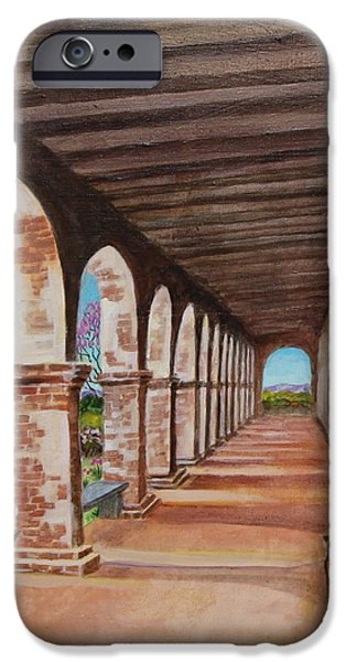 Empty Chairs Paintings iPhone Cases - Arched Walkway at Noon  iPhone Case by Jan Mecklenburg