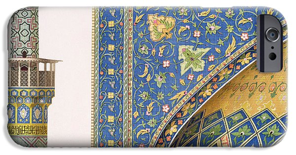Iraq Paintings iPhone Cases - Architectural Details from the Mesdjid i Shah iPhone Case by Pascal Xavier Coste