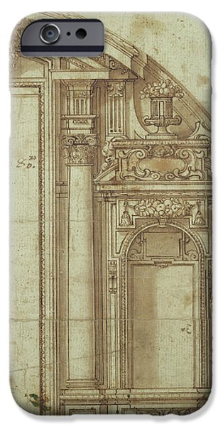 Architecture Drawings iPhone Cases - Architectural Study iPhone Case by Alonso Cano