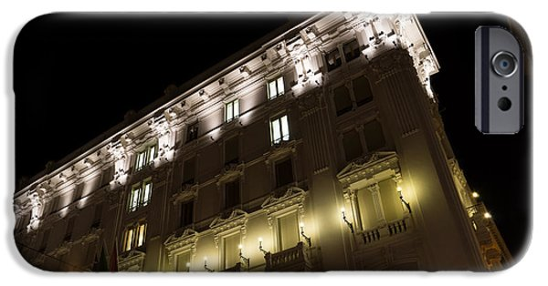 Night Lamp iPhone Cases - Architecture in Rome Italy - Just Lift Your Head Day and Night iPhone Case by Georgia Mizuleva