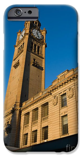 Nineteenth iPhone Cases - Architecture of the Past - a tall Station Clock Tower iPhone Case by David Hill