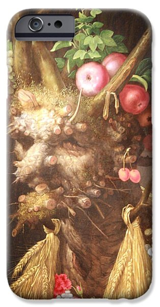 Cora Wandel iPhone Cases - Arcimboldos Four Seasons In One Head iPhone Case by Cora Wandel