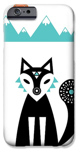 Geometric Animal iPhone Cases - Arctic Fox iPhone Case by Susan Claire