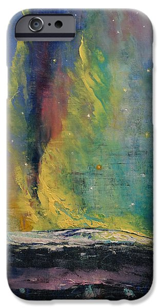 Michael Paintings iPhone Cases - Arctic Lights iPhone Case by Michael Creese