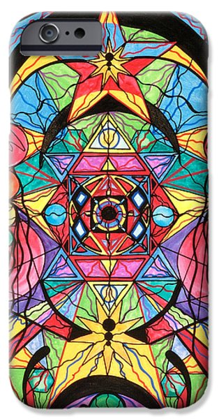 Healing Paintings iPhone Cases - Arcturian Ascension Grid iPhone Case by Teal Eye  Print Store