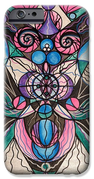 Healing Paintings iPhone Cases - Arcturian Healing Lattice  iPhone Case by Teal Eye  Print Store