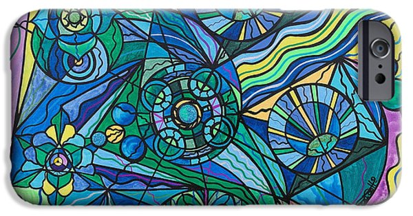 Healing Paintings iPhone Cases - Arcturian Immunity Grid iPhone Case by Teal Eye  Print Store