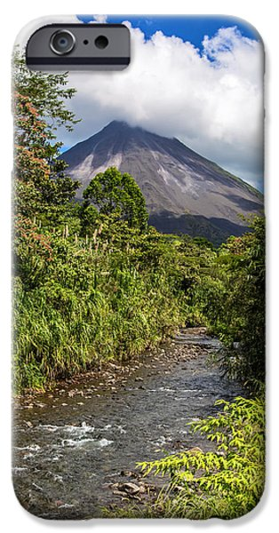 River iPhone Cases - Arenal from the Rio Agua Caliente iPhone Case by Andres Leon