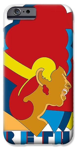 Aretha Franklin No.05 iPhone Case by Caio Caldas