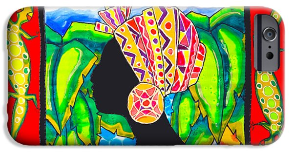 Africa Tapestries - Textiles iPhone Cases - African Woman 2 Caye Caulker Belize iPhone Case by Lee Vanderwalker