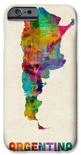 Maps - iPhone Cases - Argentina Watercolor Map iPhone Case by Michael Tompsett