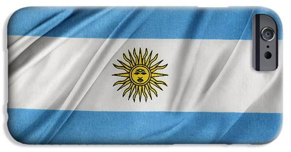 Textile Photographs iPhone Cases - Argentinian flag iPhone Case by Les Cunliffe