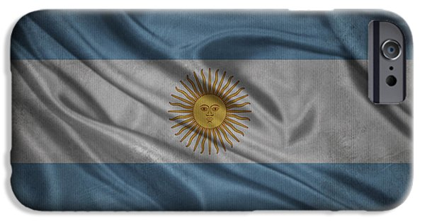Waving Flag Mixed Media iPhone Cases - Argentinian flag waving on canvas iPhone Case by Eti Reid