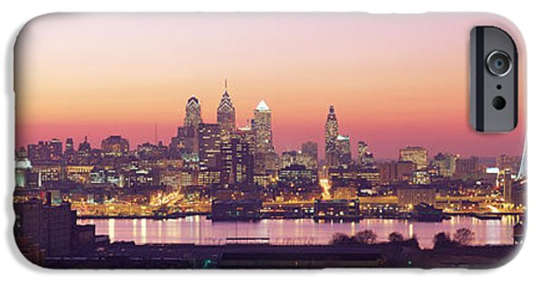 Franklin iPhone Cases - Arial View Of The City At Twilight iPhone Case by Panoramic Images